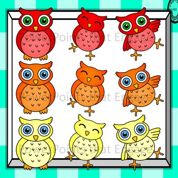 Colorful Owls Clip Art -Small Pack