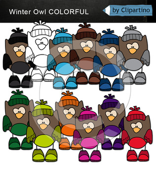Colorful Owls Clip Art (Winter)