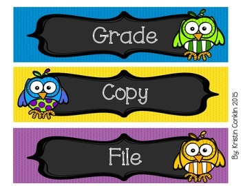 Colorful Owls Drawer Labels or Objective Headers