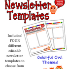 Colorful Owls Editable School Newsletter Templates - Elementary