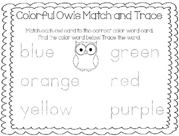 Color Word Match and Trace-Colorful Owls