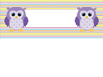 Colorful Owls Nametag Labels