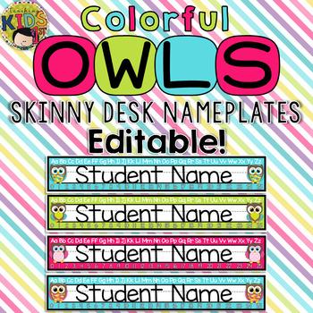 Colorful Owls Skinny Editable Desk Nameplates