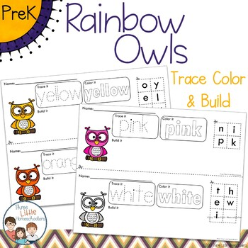 Colorful Owls Trace Color and Build - Writing Center Activity