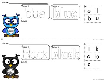 *Updated* Rainbow Owls Trace Color and Build Writing Center Activity
