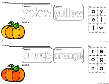 Colorful Pumpkins Trace Color and Build - Writing Center Activity