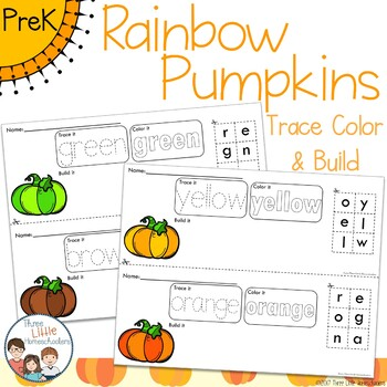 *Updated* Rainbow Pumpkins Trace Color and Build Writing Center Activity