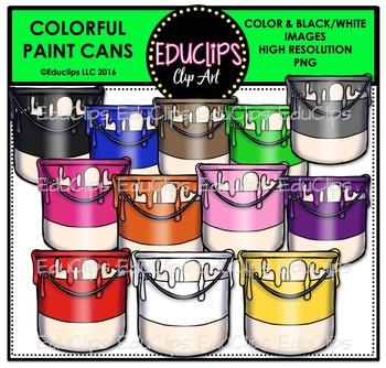 Colorful Paint Cans Clip Art Bundle {Educlips Clipart}