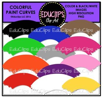 Colorful Paint Curves Clip Art Bundle {Educlips Clipart}