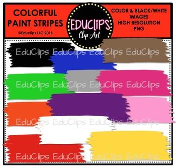 Colorful Paint Stripes Clip Art Bundle {Educlips Clipart}