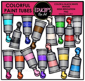 Colorful Paint Tubes Clip Art Bundle {Educlips Clipart}
