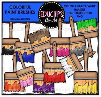 Colorful Paintbrushes Clip Art Bundle