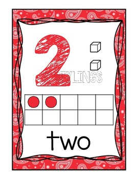 Colorful Paisley Number Posters 0-20