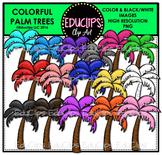 Colorful Palm Trees Clip Art Bundle {Educlips Clipart}