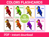 Colorful Parrots Flash Cards; Kindergarten; Preschool; Hom