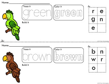 Colorful Parrots Trace Color and Build Writing Center Activity