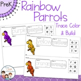 Rainbow Parrots Trace Color and Build Writing Center Activity