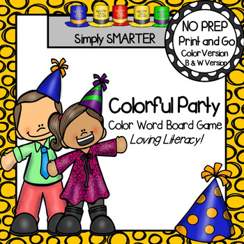 Colorful Party:  NO PREP New Year's Eve Themed Color Word Board Game