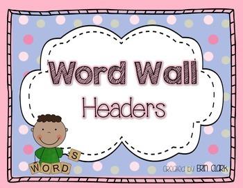 Colorful Pastel Polka Dot Word Wall Headers