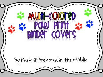 Colorful Paw Prints Binder Covers