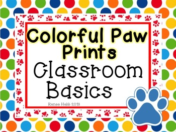 Colorful Paw Prints Classroom Decor