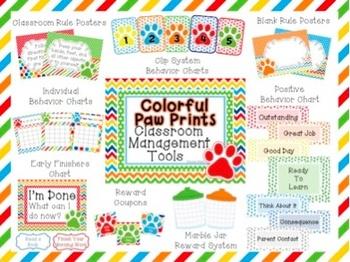 Colorful Paw Prints Classroom Management Set