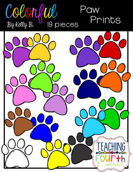 Colorful Paw Prints Clipart