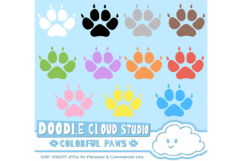 Colorful Paw Prints Cliparts, Dog and Cat Paws, Pet Clip Arts, Animal Paws