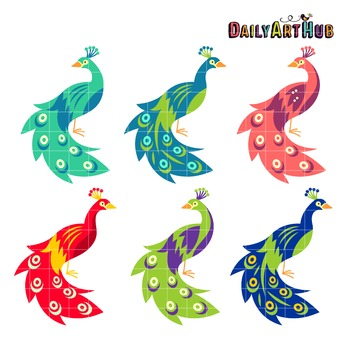 Colorful Peacocks Art Clip Art - Great for Art Class Projects!