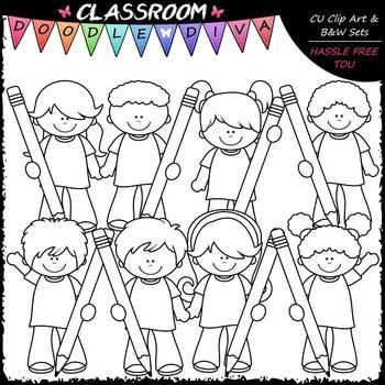 Colorful Pencil Kids - Clip Art & B&W Set