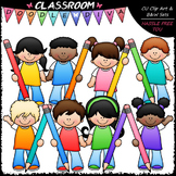 Colorful Pencil Kids - Clip Art & B&W Set
