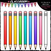 Colorful Pencils Clip Art - School Supplies Clip Art & B&W Set