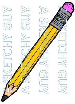 Colorful Pencils Clipart Graphics 300dpi Color Black Lined Grayscale