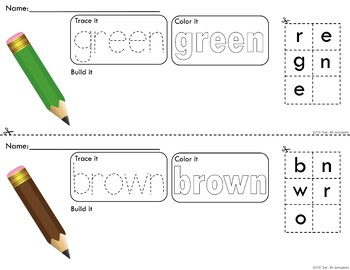 Rainbow Pencils Trace Color and Build Writing Center Activity