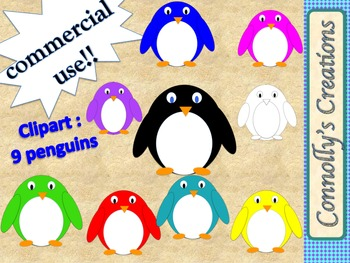 Colorful Penguin Clip Art for Commercial Use!