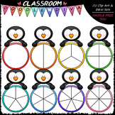 Colorful Penguin Spinners Clip Art - Games Clip Art & B&W Set