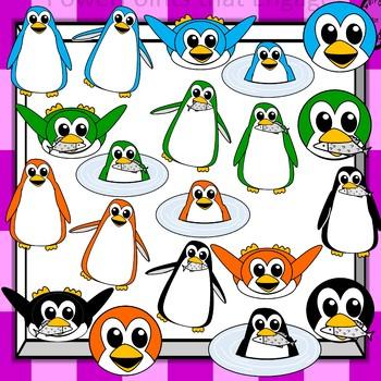 Colorful Penguins Clip Art