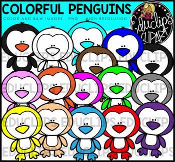 Colorful Penguins Clip Art Bundle {Educlips Clipart}