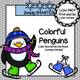 Colorful Penguins:  LOW PREP Color Word Write the Room