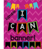 Colorful Pennant I Can Banner EDITABLE