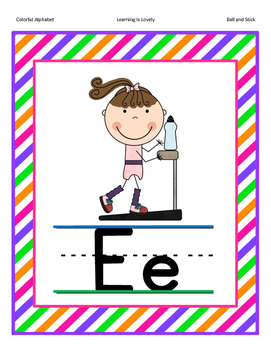Colorful Phonetically Regular Alphabet Posters in 2 Sizes (Ball and Stick Font)
