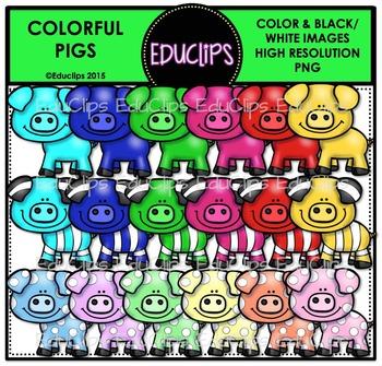 Colorful Pigs Clip Art Bundle {Educlips Clipart}