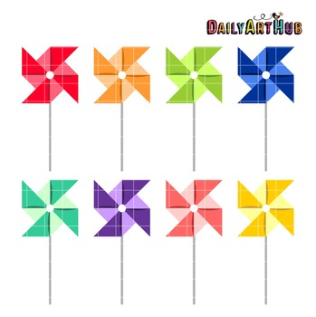 Colorful PinWheels Clip Art - Great for Art Class Projects!