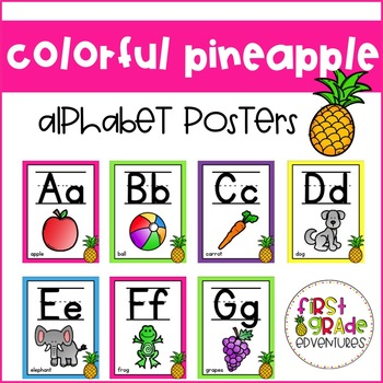 Colorful Pineapple Themed Alphabet Posters