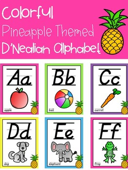 Colorful Pineapple Themed D'Nealian Alphabet Posters