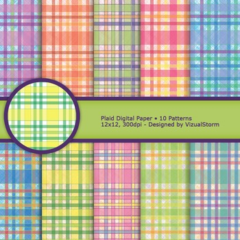 Colorful Plaid Digital Paper, Bright Colored Printable Flannel Backgrounds