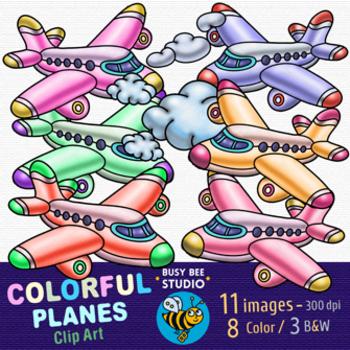 Colorful Planes Clip Art