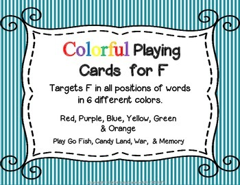 Colorful Playing Cards for Articulation of  F