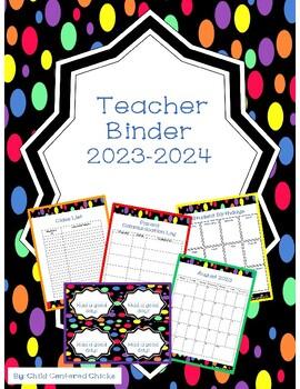 Teacher Organizational Binder 2018-2019 Colorful Polk a Dot