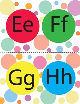 Colorful Polka Dot  Alphabet Posters. FREEBIE. (English)